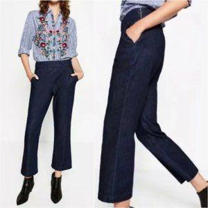 Zara Blue Ruffle High Rise Crop Wide Leg Jeans
